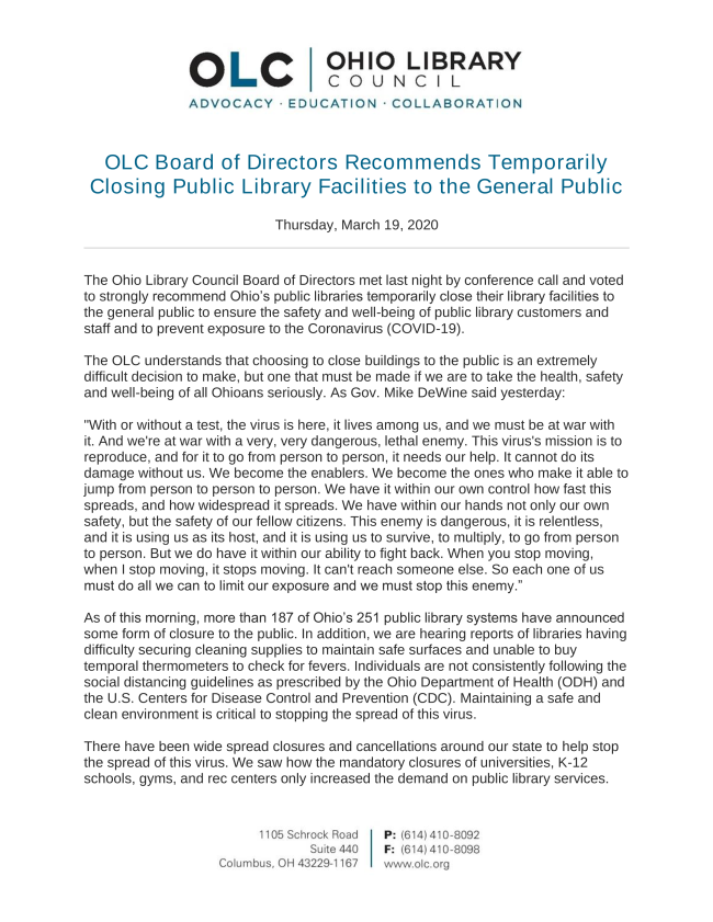OLC Statement 03.19.20