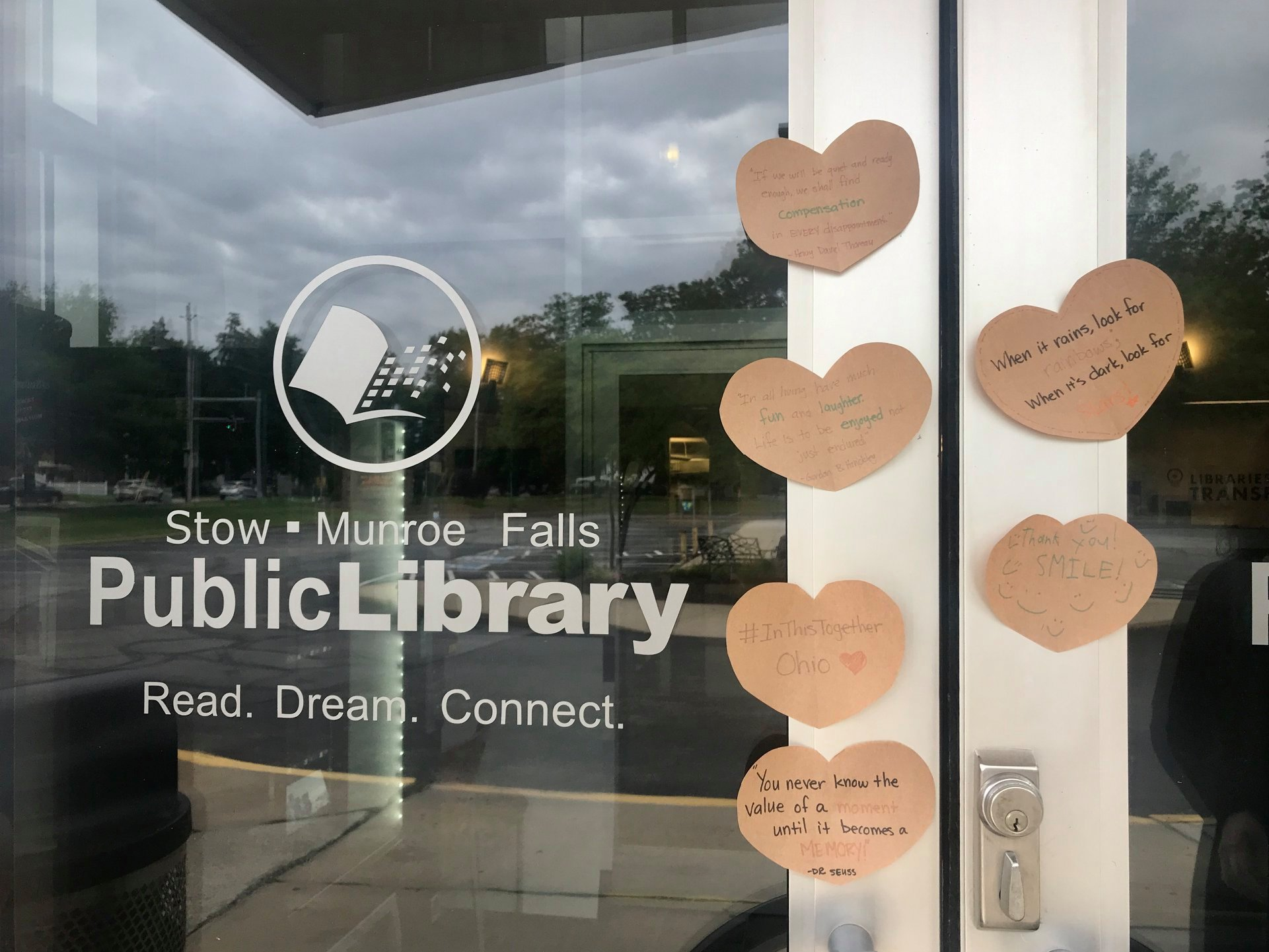 Heart shaped notes on library door