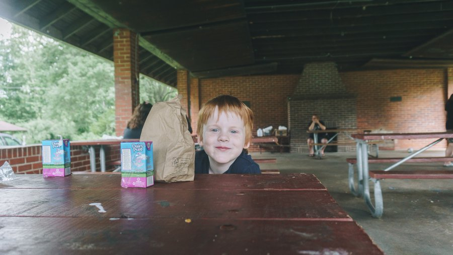 summer meal and child at park photo