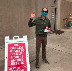 photo outside library with test kit